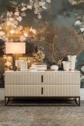 Wooden Floor Mounted Modern White Cabinet