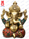 Lord Ganesha W/Out Base & Flower Design Stone Statue