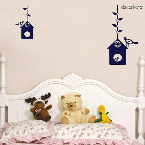 multicolor multiple decor kafe black bird house wall stickers, size
