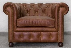 Vintage One Seater Sofa in Chestnut Leather, Leather Couches