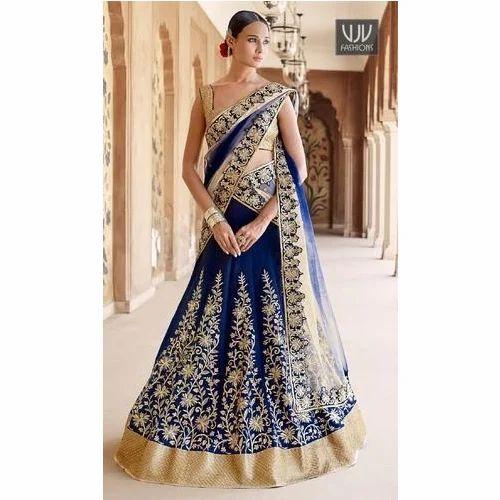 86a710f0cc Semi-Stitched Ladies Blue And Golden Designer Lehenga Choli, Rs ...