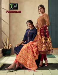 Rangoon Paridhan Silk Readymade Long Salwar Suits With Banaras Dupatta