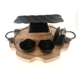 Round Wooden Snacks Set with Teflon Coated Warmer