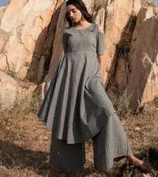 Charcoal Cotton  Grey Kurta With Cotton Palazzo