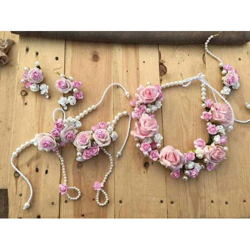 Crazy Deal Pink White Artificial Pink Floral Necklace Set Rs 1200