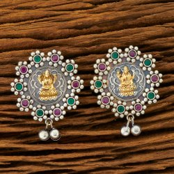 White Indo Western 2 Tone Plated Tops Earring 100264