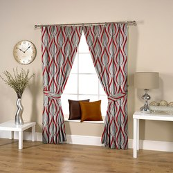 Ravi Exports Digital Printed Wavy Red Curtain