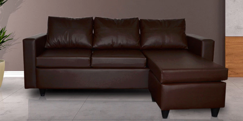 Dejuan Leatherette L Shape Sofa In Brown Color By Zapwood