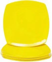 Mehul 7 Plastic, Square Half Plate, Set of 6 Pcs, Unbreakable, Microwave Safe, Yellow Color,18 c.m