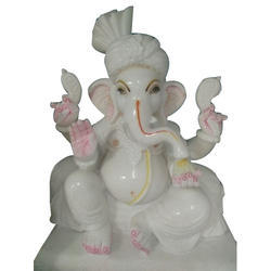 White Marble Pagdi Ganesh Statue