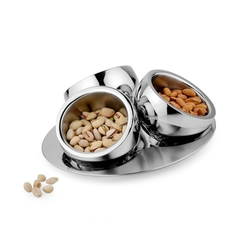 SS Set Of 3 Candy Bowl With Tray