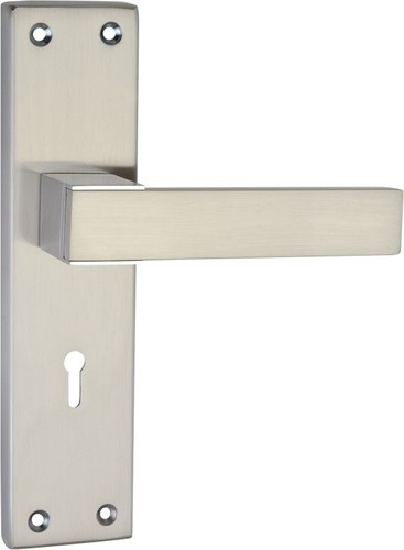 Mortise Mild Steel Door Handle (Home / Hotel / Office), Satin Silver Finish