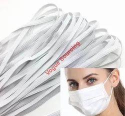White Plain Mask Flat Elastic Tape Earloop Mask Elastic Bands