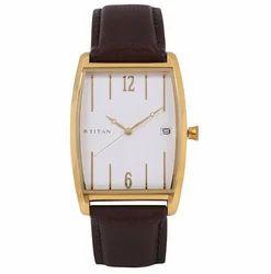 Titan White Dial Leather Strap Watch, Model:1677YL01
