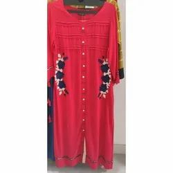 Round Neck Cotton Ladies Designer Kurti, Machine Wash, Hand Wash