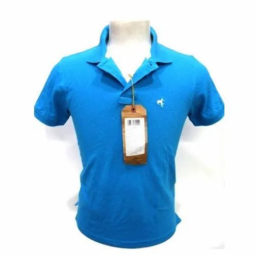 Punit Polyfab Polo Neck Mens Sky Blue T-Shirts