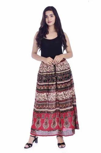 Handicraft-Palace Women Rayon and Bandhej / Bandhani Designs Hand Print Skirt/Lahenga