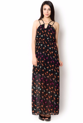 UR-494 Black Ployester Party Wear Dress
