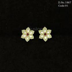 Kundan Meenakari Stud Earrings