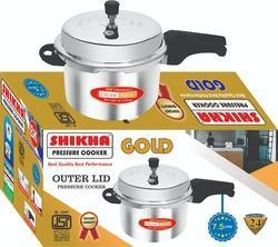 Shikha Aluminum 7.5 Liter Gold Outer Lid Pressure Cooker, For Home, Packaging Type: Box