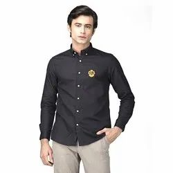 Green Hill Men's Solid Casual Black Oxford Shirt