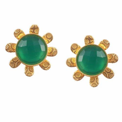bf686b273 Silver Brass Gold Plated Round Quartz Green Emerald Rhinestone Handmade  Floral Stud Earring