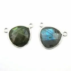 Blue Fire Labradorite Fancy Silver Plated Bezel Gemstone Connectors