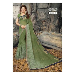 Printed Party wear Moss Green Designer Saree