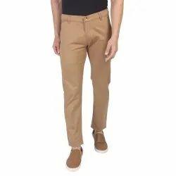 Khaki Plain Mens Cotton Formal Trousers, 28-36 Waist Size, Machine Wash