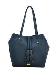 Yelloe Blue Synthetic Leather Tote Bag With Big Compartment