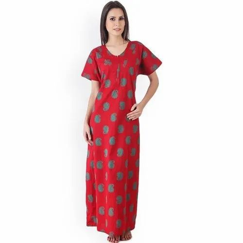 Red Ladies Cotton Nightgown
