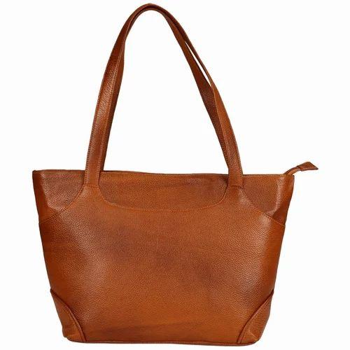 e076c801e6 Brown Bharat Leather Emporium Ladies Genuine Leather Handbag