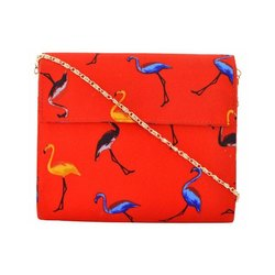 Azzra Red Saras Printed Fabric Wooden Clutch
