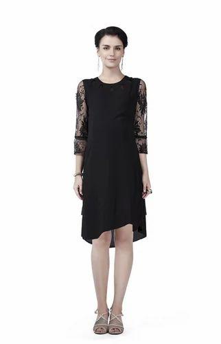 902c019cffb 3 4 Sleeve Plain Black Innovative Presents Maternity A Line Dress ...