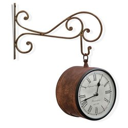 Antique Double Side Station Wall Clock, For Used In Railway Station, Metal
