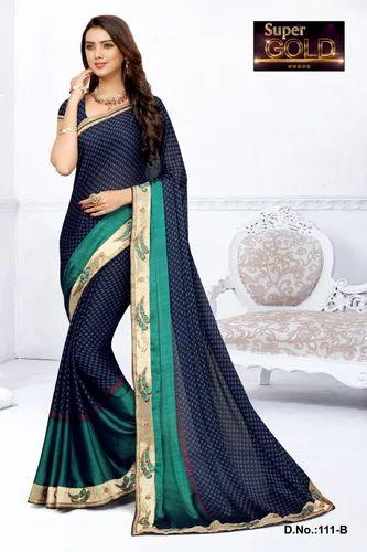 28678c79235d43 DARK BLUE Party Wear & Festive Wear Black Rangoli Silk Saree With Heavy  Multi Work Lace