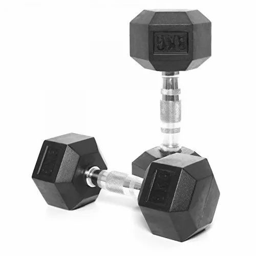 Adjustable Dumbbells Black KD Rubber Coated Hex Dumbbell, For Gym