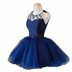 Satin Sleeveless Blue One Piece Party Wear Dress