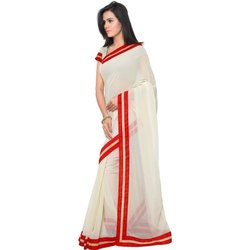 Ladies White Pure Cotton Casual Saree