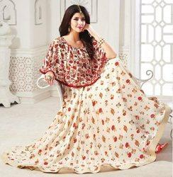 Indian Ethnic Designer Cream Color Muslin Cotton Printed Gown