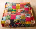 Cotton Handicraft-palace Indian Vintage Patchwork Square Ottoman Floor Cushion, Size: 35x35