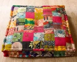 Indian Vintage Patchwork Square Ottoman Floor Cushion