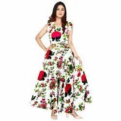 Floral Woman Designer Dresses, Size: XL