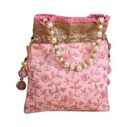 Pink Cotton Embroidered Potli Bag
