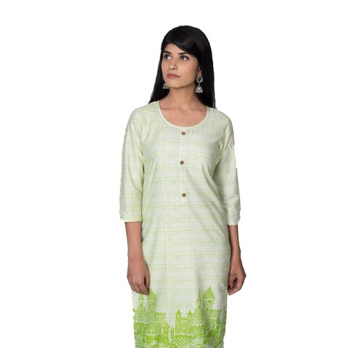 Full Sleeve Casual Wear Philauri White Basic Cotton Printed Straight Kurti, Age Group: 16-40