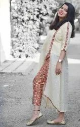 Straight Silk Kota Doriya Kurti And Printed Pant