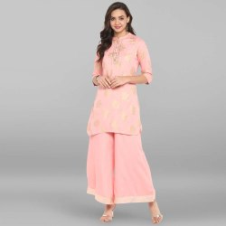 Pink Rayon Short Kurta With Palazzo(SET080)