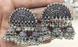 Jhumkis Oxidized Silver Half Circle Triple Jhumka Earrings