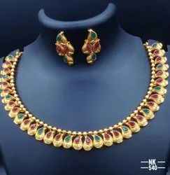 High Gold Plated Copper Jewellery Set NK 1080