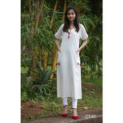 White Stitched Casual Wear Kurti, Dry clean